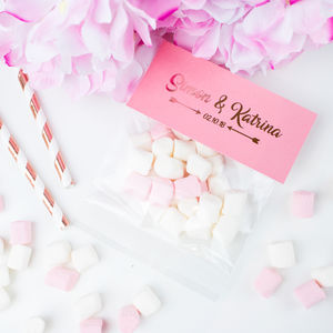 Foil Print Personalised Marshmallow Wedding Favours - edible favours