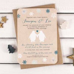 Penguin And Snowflake Evening Invite With Gems - what's new