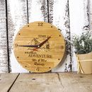 Personalised Handcrafted Adventure Oak Clock