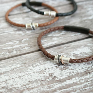 Mens Personalised Leather Bracelet