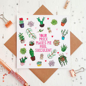 Naughty Cactus Rude Funny Valentines Card