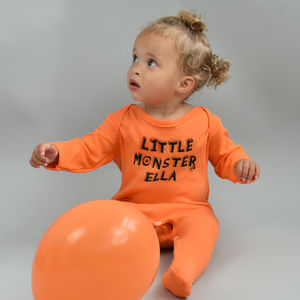 Personalised 'Little Monster' Baby Romper - halloween with a twist