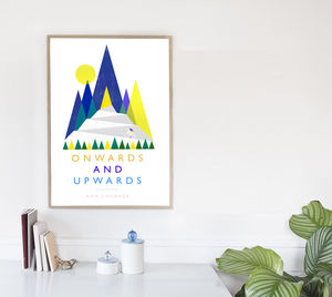 Onwards And Upwards Cycling Inspiration Poster - posters & prints