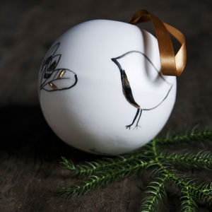 Luxury Porcelain Christmas Bauble, Robin - tree decorations