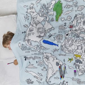 World Map Duvet Cover To Colour In, Pens Included