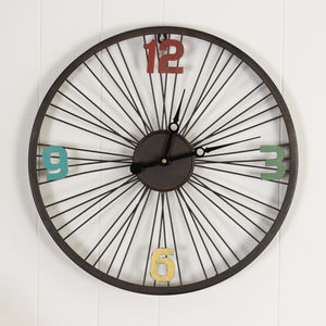 Bicycle Wheel Industrial Clock - clocks