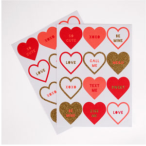 Love Heart Stickers Set - ribbon & wrap