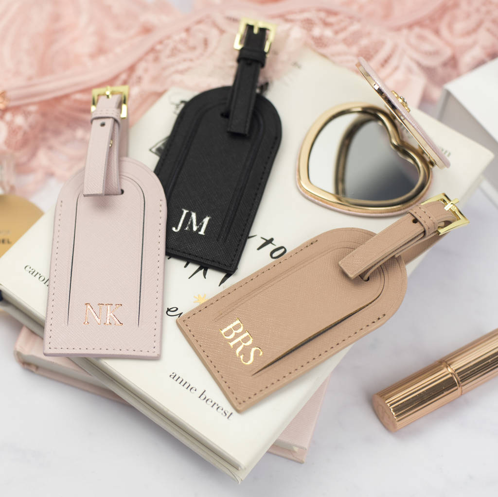 a0c9c5566975 personalised leather luggage tag gift set by studio seed ...