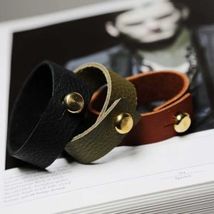 Leather Mens Bracelet With Large Brass Closure