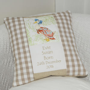 Beatrix Potter© Birth And Christening Cushion - children's room