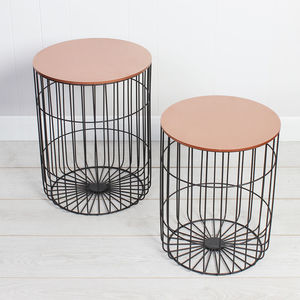 Set Of Two Storage Industrial Copper Side Tables