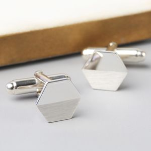 Sterling Silver Hexagonal Cufflinks - men's accessories