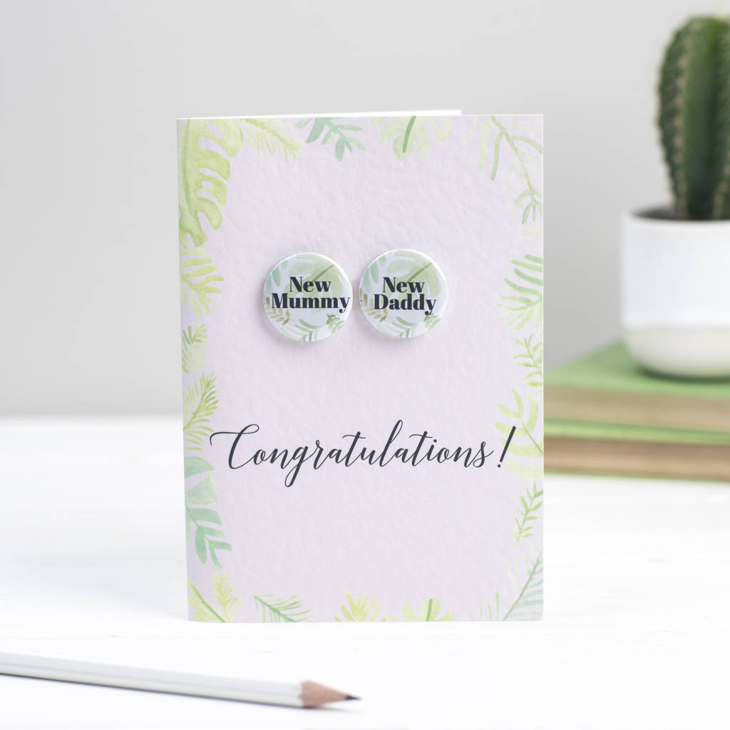 New Mummy And Daddy Palm Print Badge Card