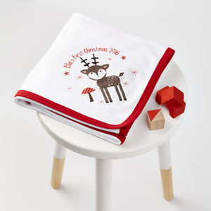 Personalised Christmas Reindeer Blanket - cot bedding