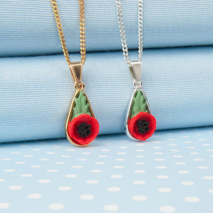 Poppy Tear Drop Pendant Necklace - necklaces & pendants