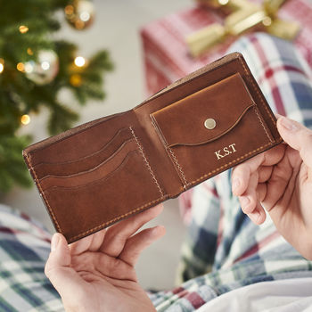 Personalised Leather Wallet With Coin Section