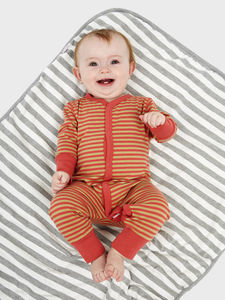 Khaki And Coral Button Down Sleepsuit - clothing