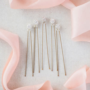 Set Of Five Swarovski Crystal Glitterball Hairpins - bridal hairpieces