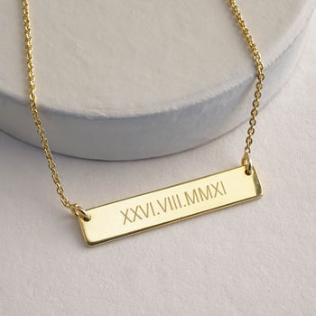 Roman Numerals Bar Necklace