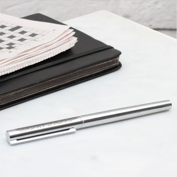 Personalised Rhodium Rollerball Pen