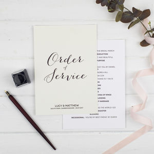Modern Calligraphy Wedding Order Of Service - order of service & programs