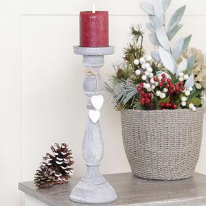 Distressed French Grey Candle Stick With Heart Charms - candles & home fragrance
