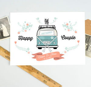 Personalised Wedding Camper Van Print - dates & special occasions