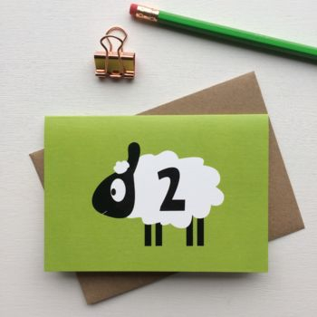 Sheep Second Birthday Card