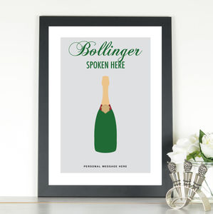 'Bollinger Spoken Here' Personalised Print