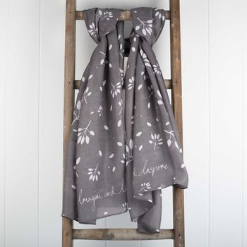 **'Imagine And Inspire' Designer Charcoal Scarf