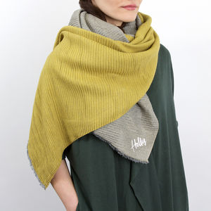 Personalised Reversible Pleated Cashmere Scarf Shawl - gifts for her sale