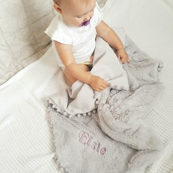 Personalised Grey Faux Fur Baby Blanket