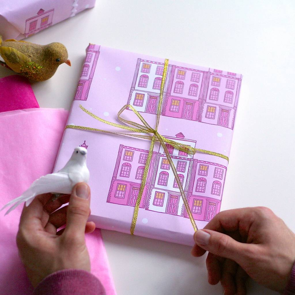 pastel pink london street christmas wrapping paper