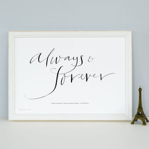 Personalised Celebration Print 'Always And Forever'
