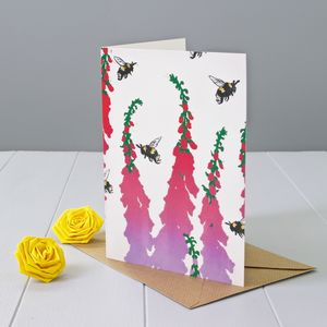 Foxgloves And Bumble Bee Greeting Card