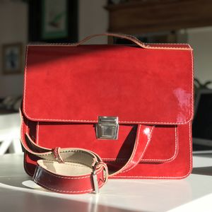 Red Lacquered Leather Satchel - winter sale