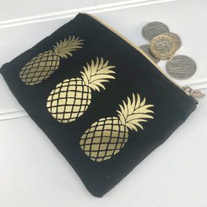 Golden Pineapple Zip Purse - purses & wallets