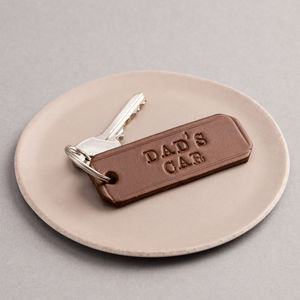 Personalised Handstamped Leather Keyring - gifts for him