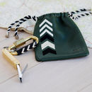 Carabiner Keyring And Personalised Leather Pouch, Green