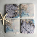 Water Ink Design Set Of Four Coasters
