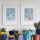 Pair Of Retro Cactus Prints