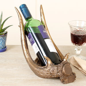 Gold Stag Antler Wine Bottle Holder - drink & barware