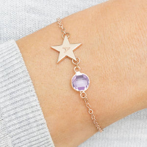 Personalised Initial Star Birthstone Bracelet - january birthstone