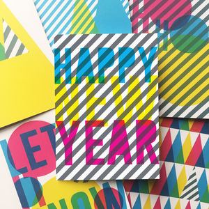 Happy New Year 'Cmyk' Card - cards & wrap