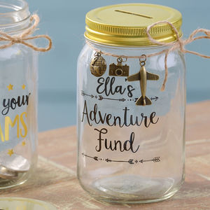 Personalised Glass Savings Jar - tins, jars & bottles