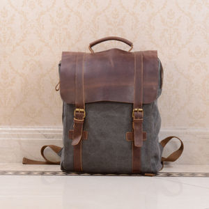 Personalised Canvas And Leather Backpack - frequent traveller