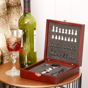 Wooden Wine Accessories Chess Set Gift For Him
