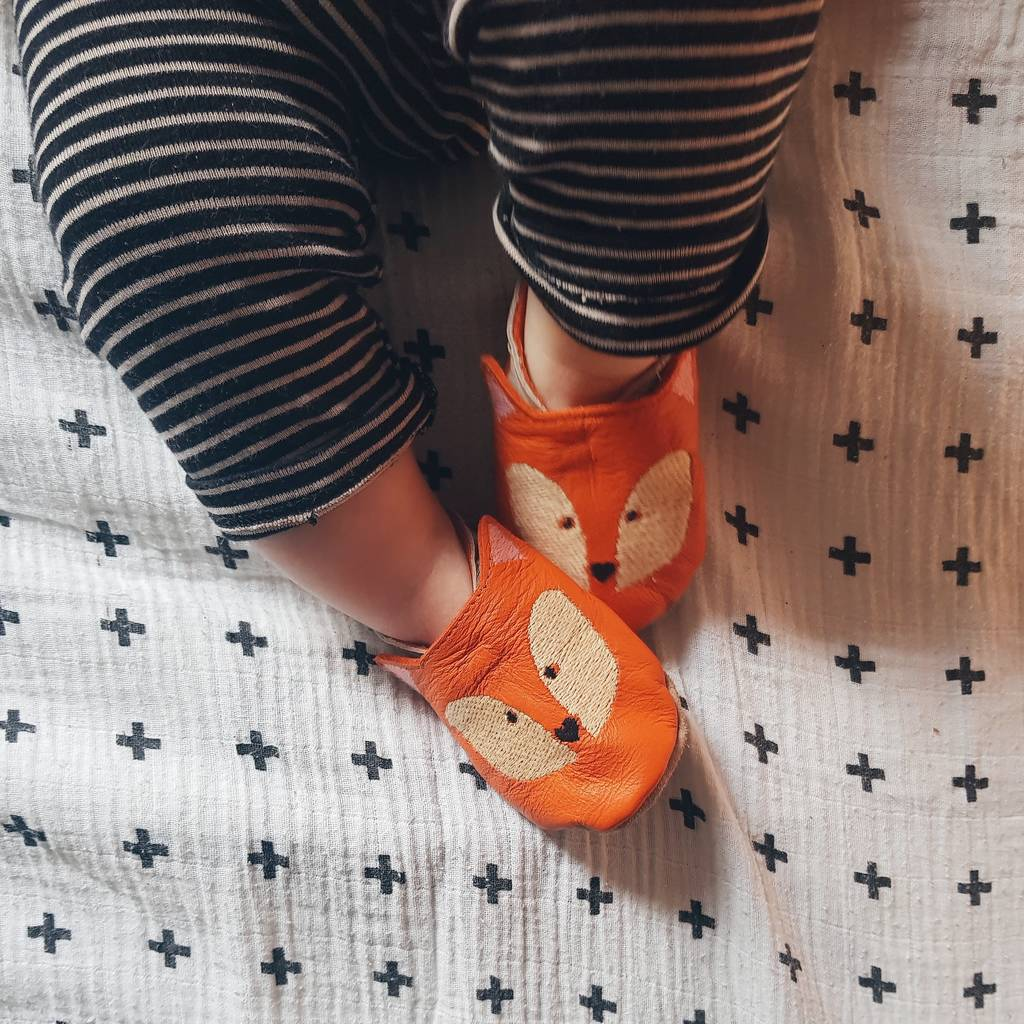 16aff4923b103 Personalised Embroidered Fox Baby Shoes