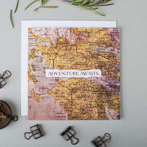 'Adventure Awaits' Vintage Map Card - leaving cards