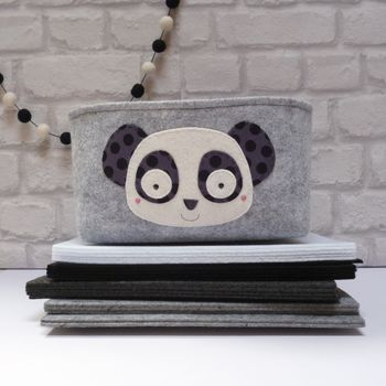 Handmade Large Felt Storage Box With Cute Panda Motif
